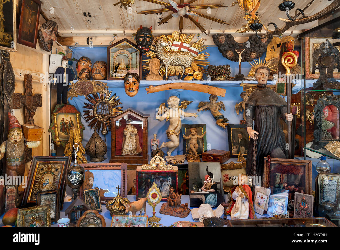 Booth with devotional objects, Auer Dult, Munich, Bavaria, Germany - Stock Image