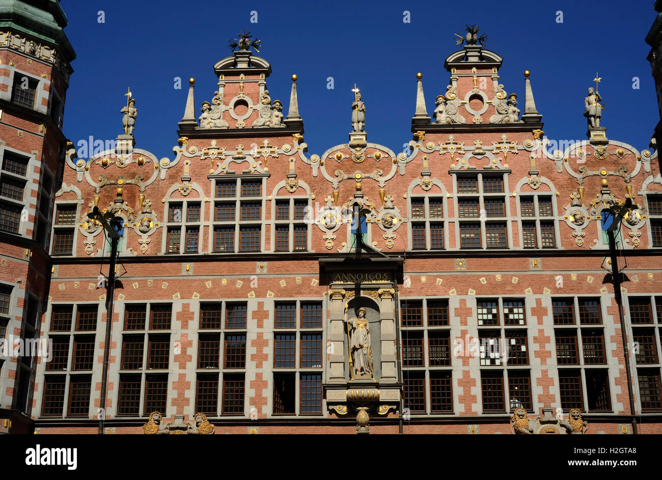 Poland. Gdansk. Great Arsenal. 17th century. Mannerist. Built by Anthony van Obberger (1543-1611). Facade. Detail. - Stock Image