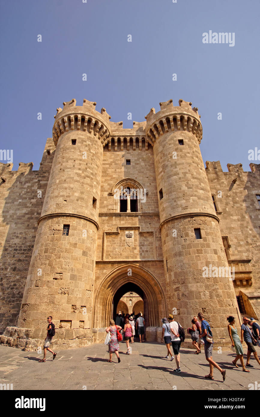 Entrance to the Palace of the Grand Master of Rhodes, Rhodes Island, Dodecanese Islands, Greece. - Stock Image