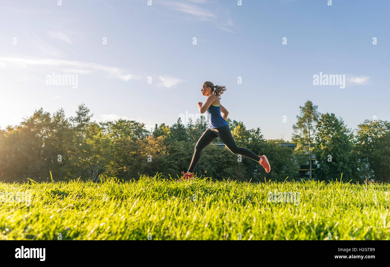 Young woman in sportswear jogging in park, Munich, Upper Bavaria, Bavaria, Germany - Stock Image