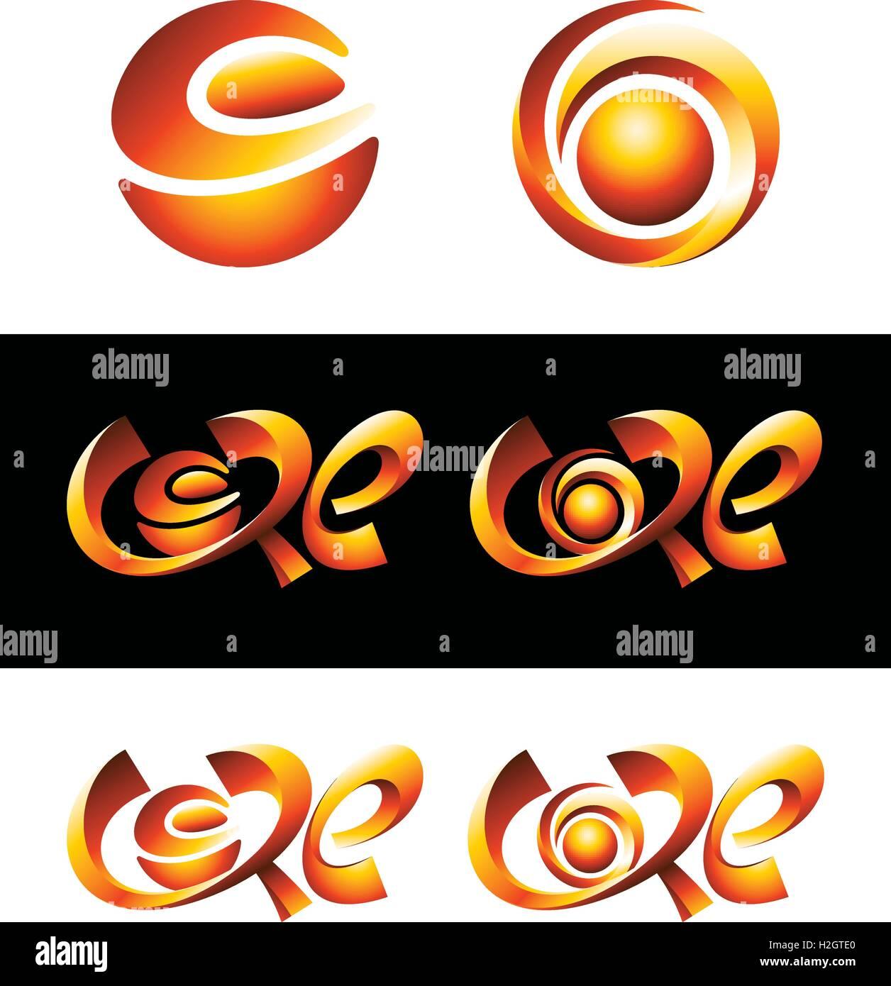 Vector logo design. 3d hot core logos symbols shining. - Stock Vector