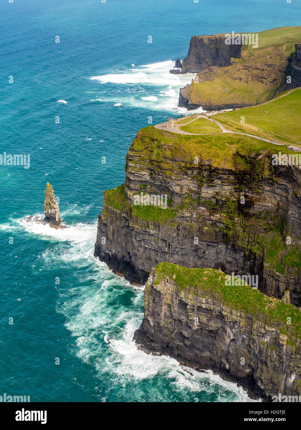 O'Brian's Tower, lookout tower on Cliffs of Moher, County Clare, Ireland Stock Photo