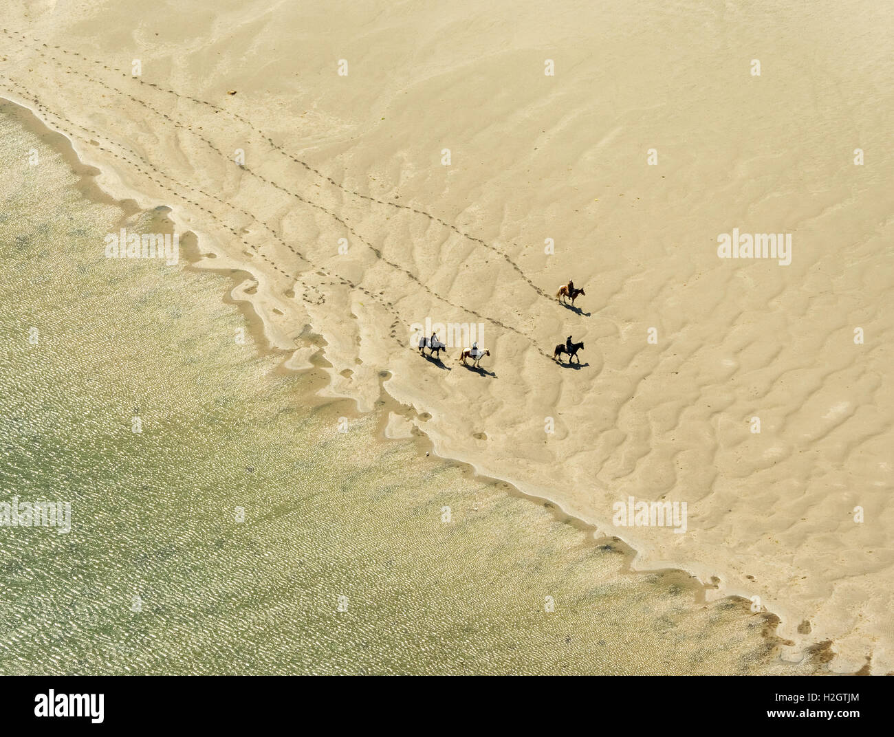 Rusheen Bay, horse riders on sandy beach, Galway, County Clare, Ireland - Stock Image