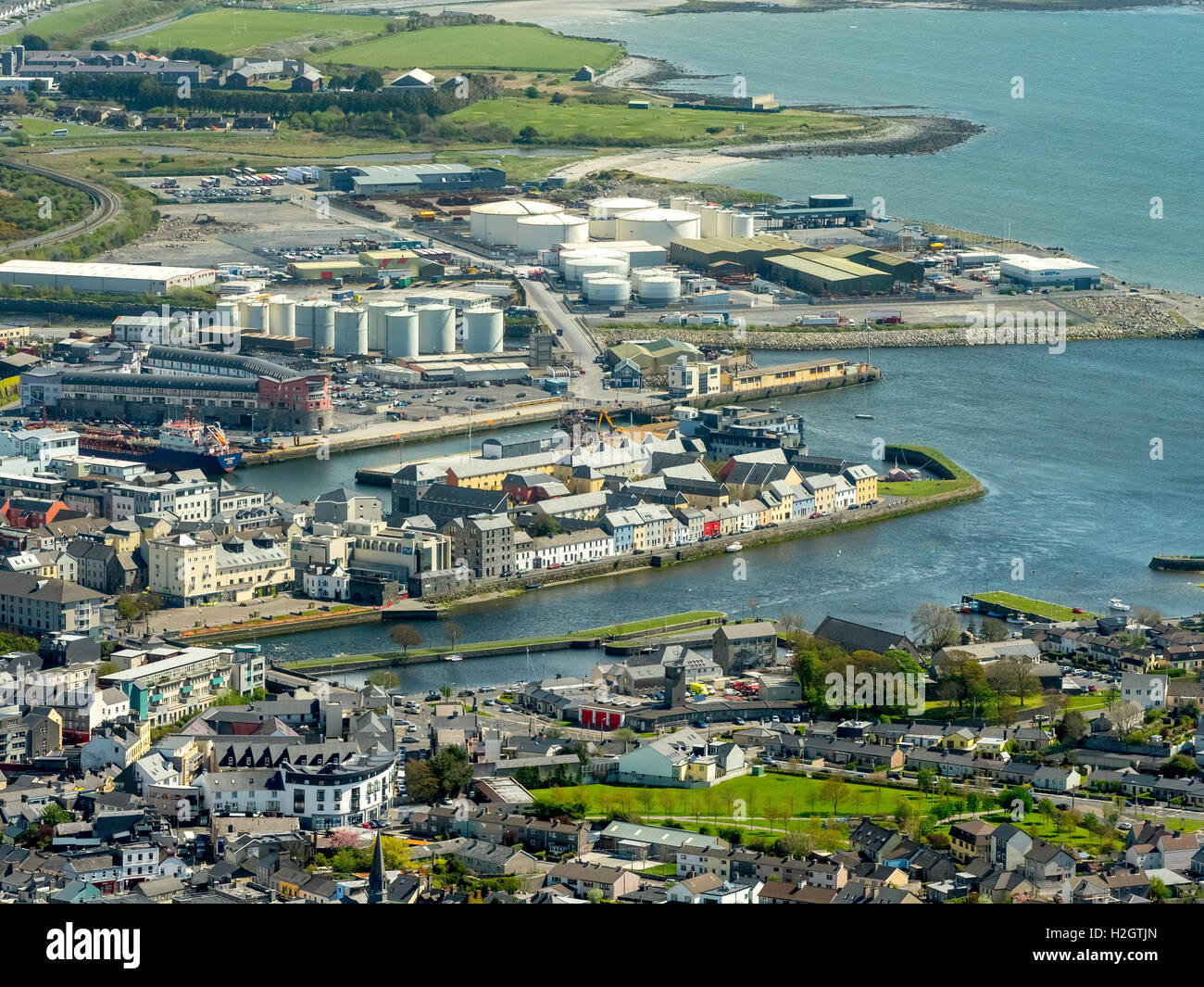 Galway harbour, docks, Galway, County Clare, Ireland - Stock Image