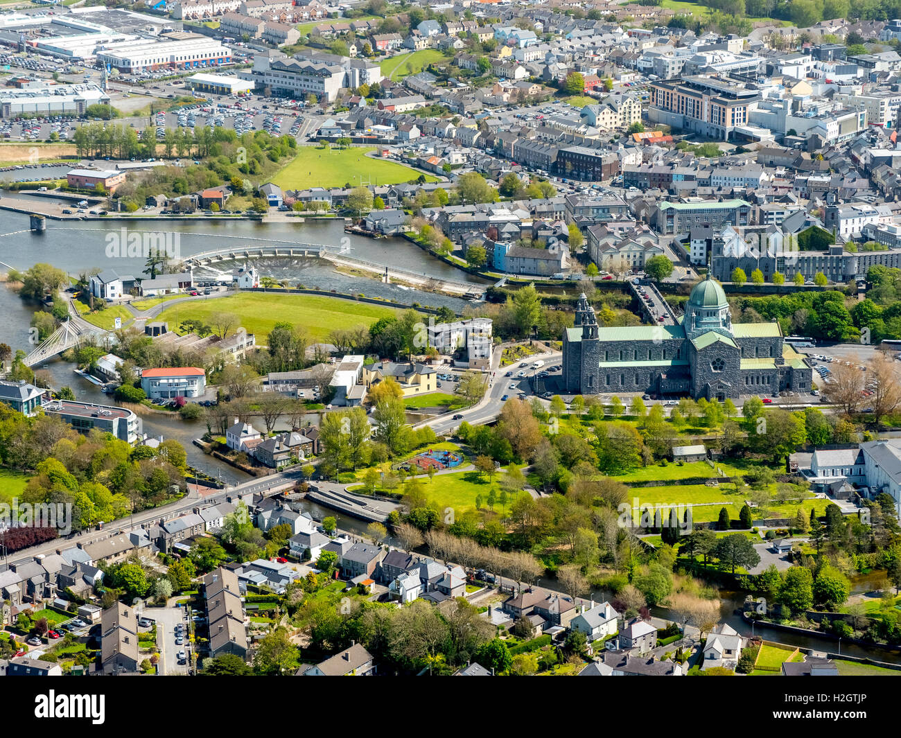 Aerial view, Galway, city and cathedral, County Clare, Ireland - Stock Image