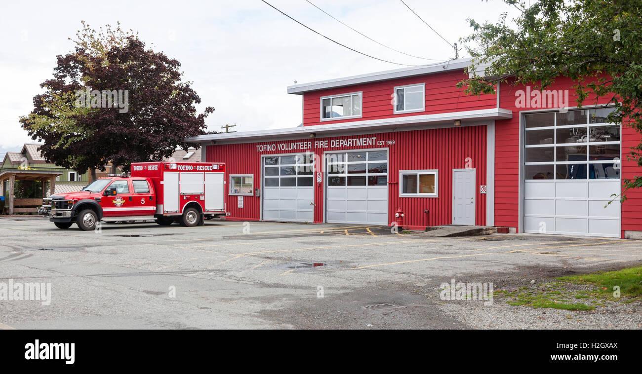 Tofino volunteer Fire and rescue department Vancouver Island in British Columbia, Canada. - Stock Image