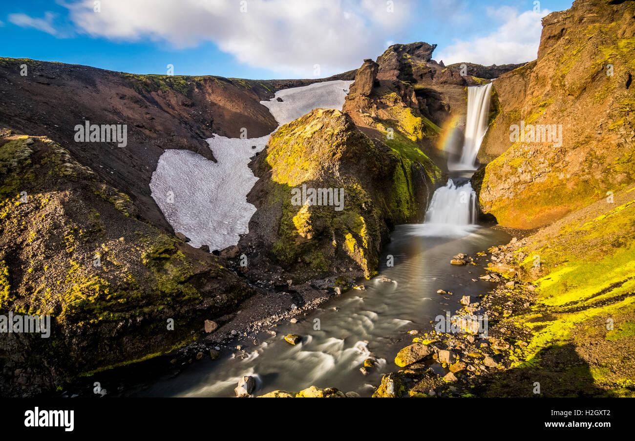 Waterfall in Skoga river in Iceland - Stock Image