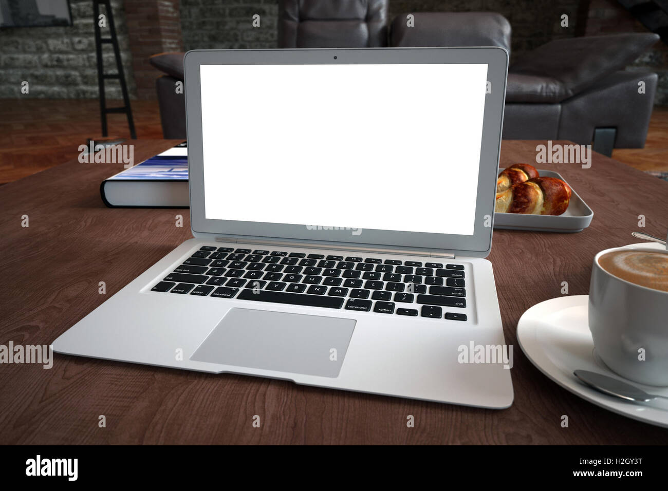 Laptop on desk, with blank screen. 3D illustration. - Stock Image