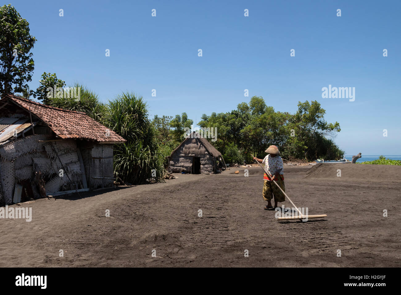 Salt farm in Bali. - Stock Image