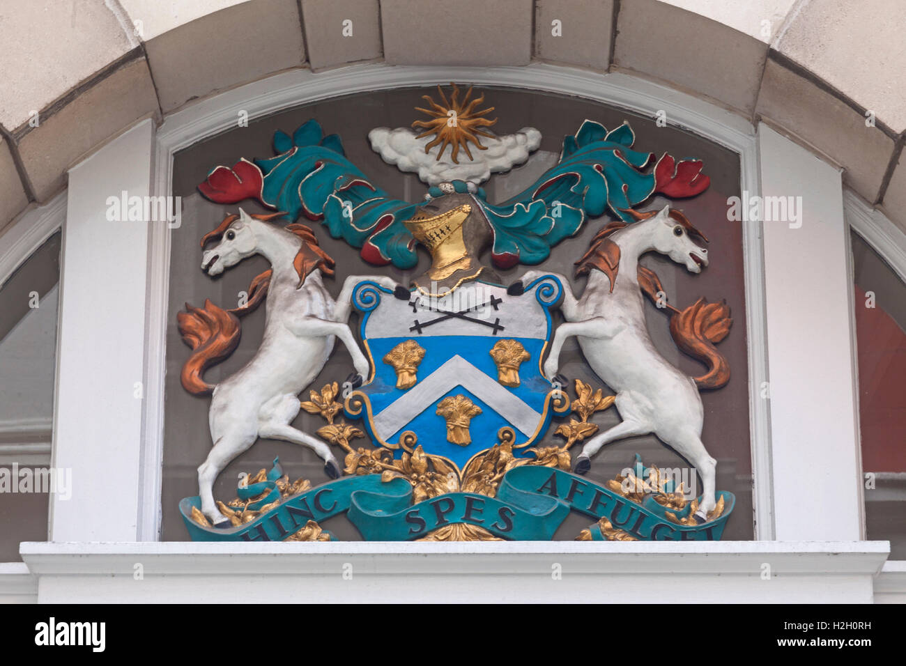 City of London  Coat of arms at Innholders Hall in  College Street off Dowgate Hill - Stock Image