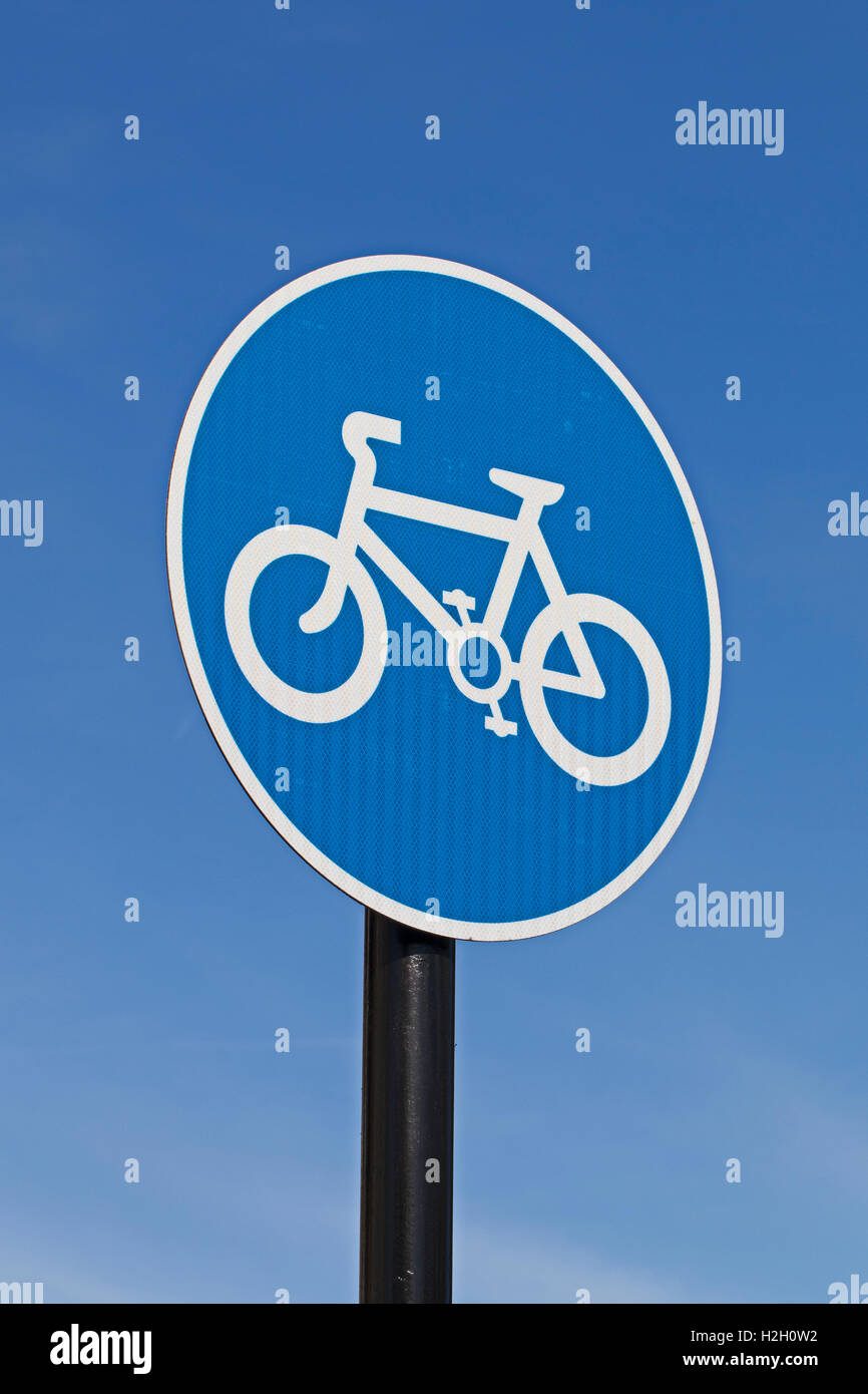 The sign for a mandatory cycle lane - Stock Image