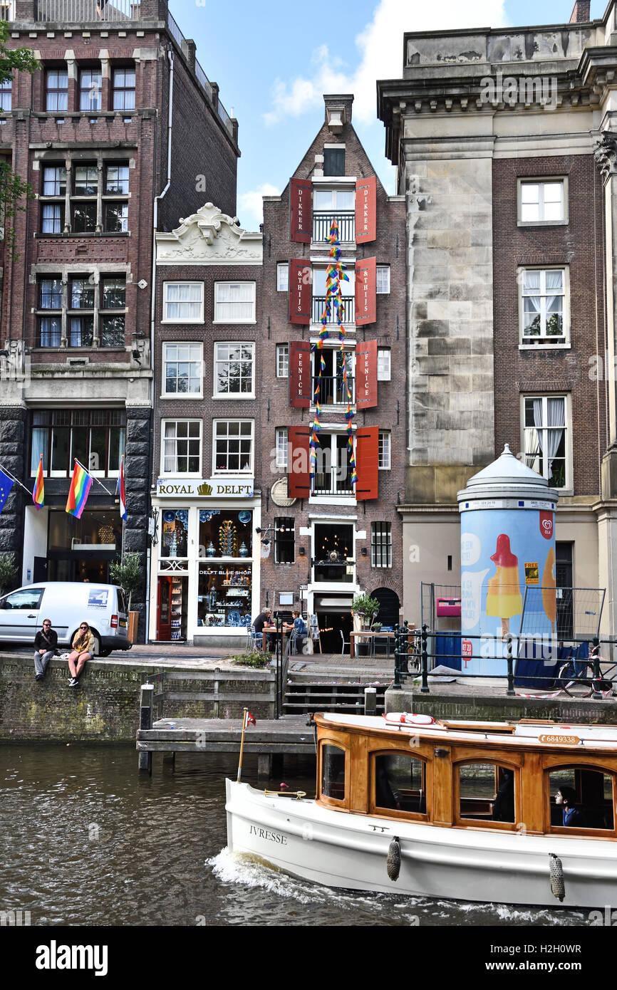 Tour Boat Prinsengracht Amsterdam Dutch Netherlands - Stock Image