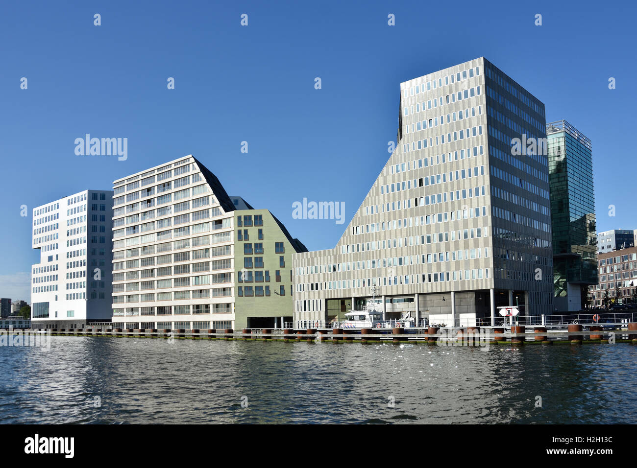 IJdok Amsterdam Netherlands Dutch modern city town - Stock Image