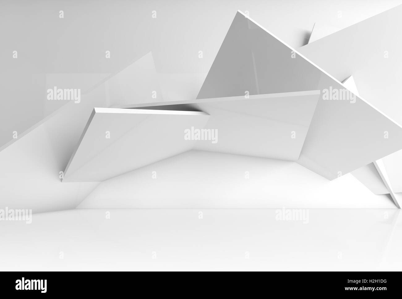 Abstract white interior background, installation of square blocks on the wall of empty room. Blue toned 3d illustration, Stock Photo