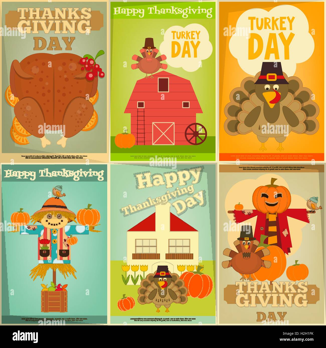 happy thanksgiving greeting card set of vintage turkey day mini