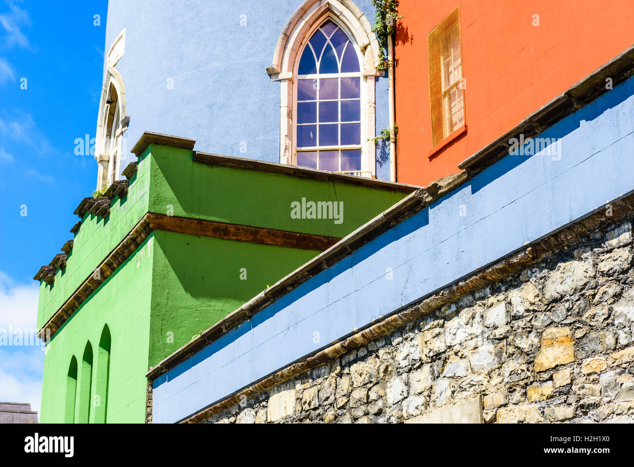 Colourful walls of the State Apartments at Dublin Castle, Ireland - Stock Image