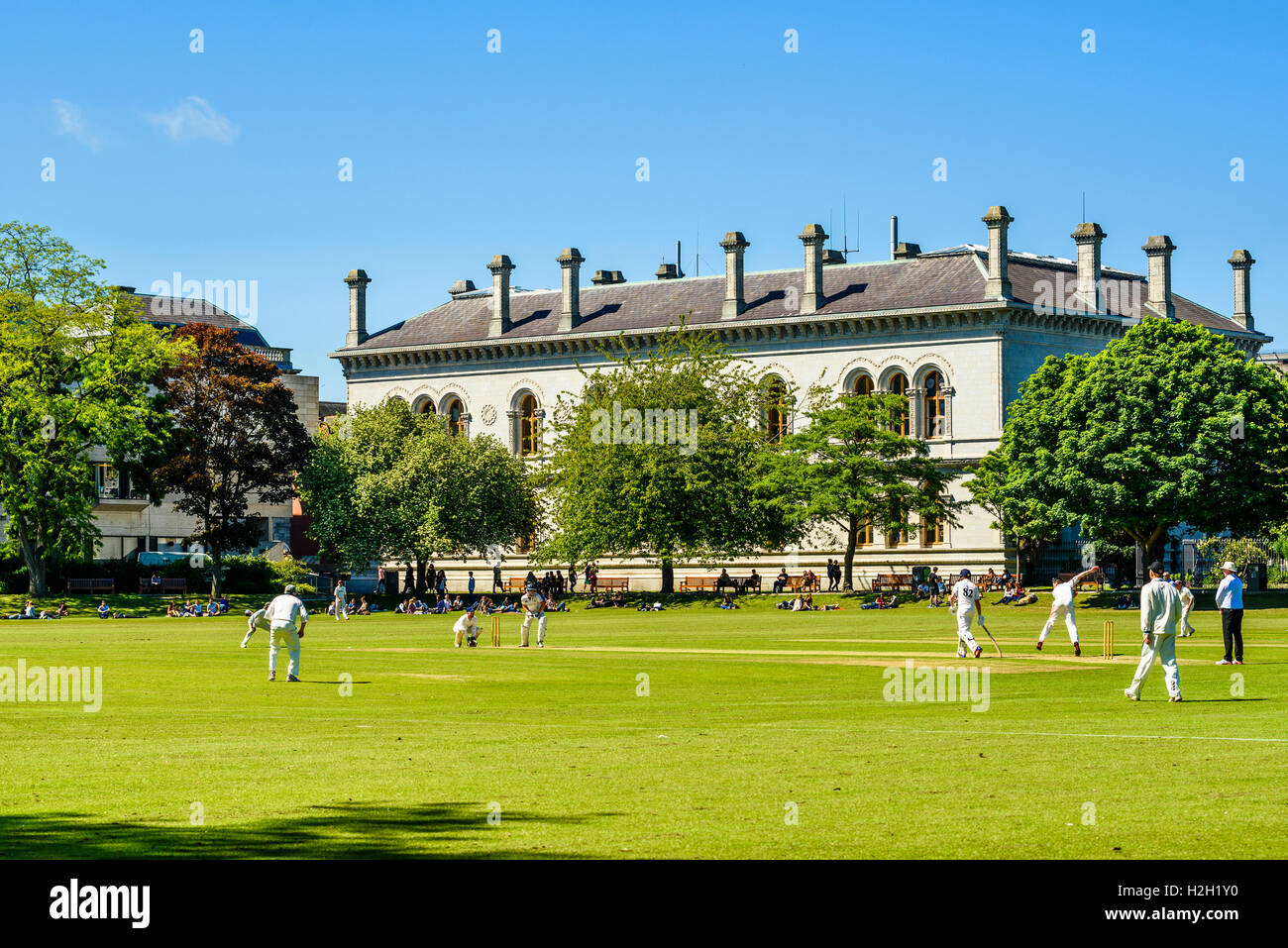 Cricket match on College Park, Trinity College, Dublin, Ireland - Stock Image
