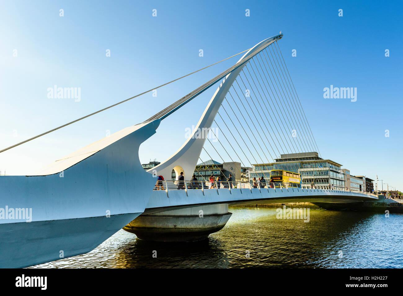 Samuel Beckett Bridge over River Liffey Dublin Ireland Stock Photo
