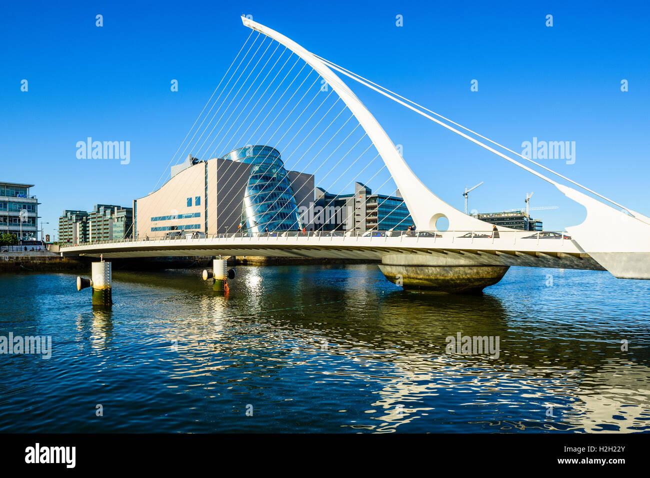 Samuel Beckett Bridge over River Liffey Dublin Ireland with Convention Centre Dublin behind Stock Photo