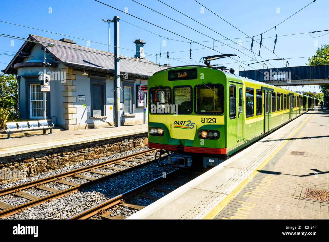 DART (Dublin Area Rapid Transit) train at Bray station near Dublin Ireland - Stock Image