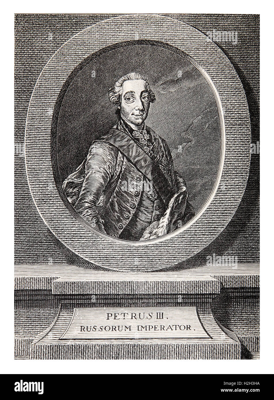 Vintage engraving portrait of Peter III Emperor of Russia for six months in 1762 - Stock Image