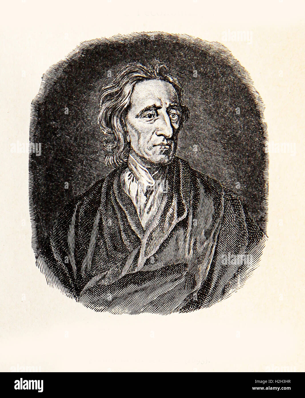Engraving portrait of John Locke influential Enlightenment thinker and father of Liberalism - Stock Image