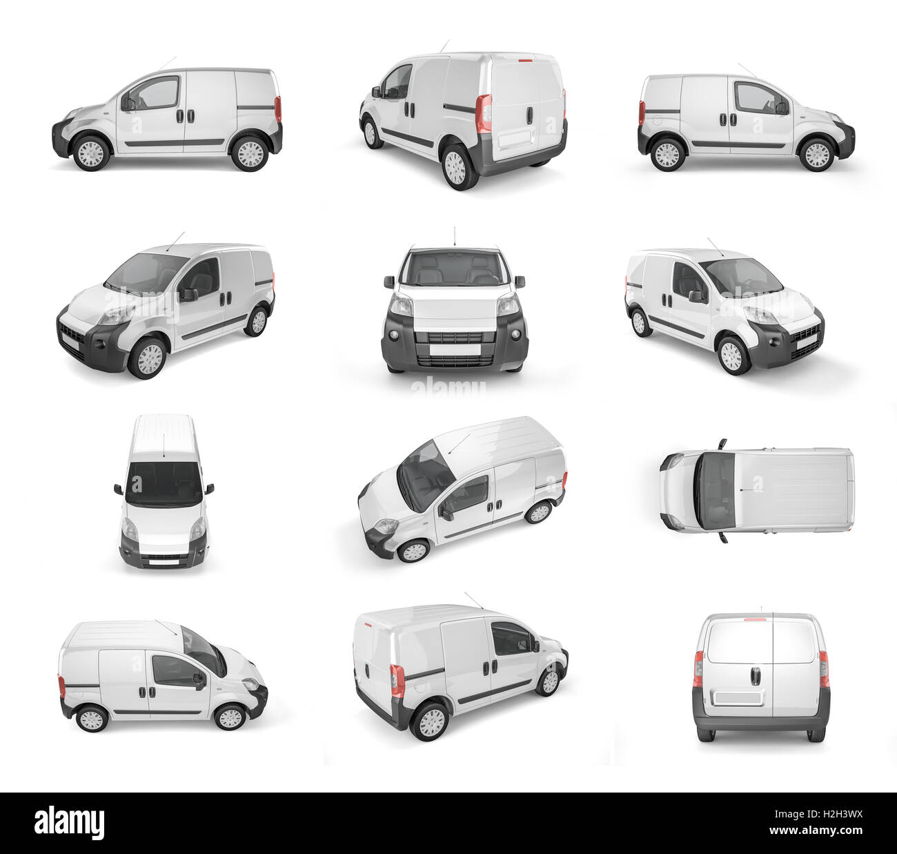 12 different view of pickup car on white background - mock up. Easy ad some creative design or logo on this blank - Stock Image