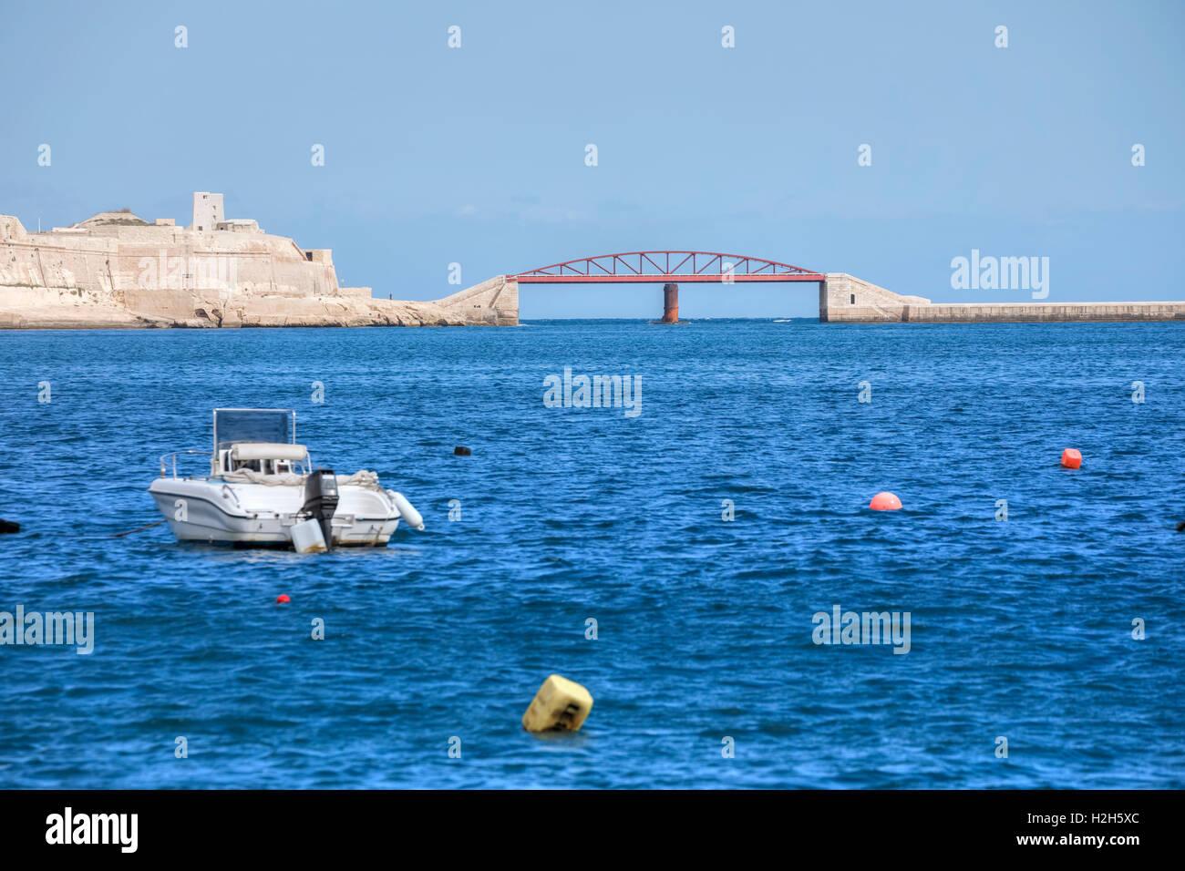 St Elmo Breakwater Bridge, Valletta, Malta - Stock Image