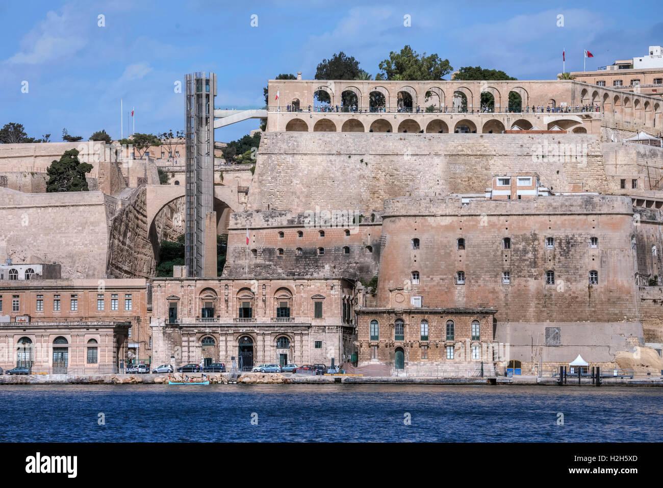 Upper Barrakka Lift; Valletta; Malta; - Stock Image