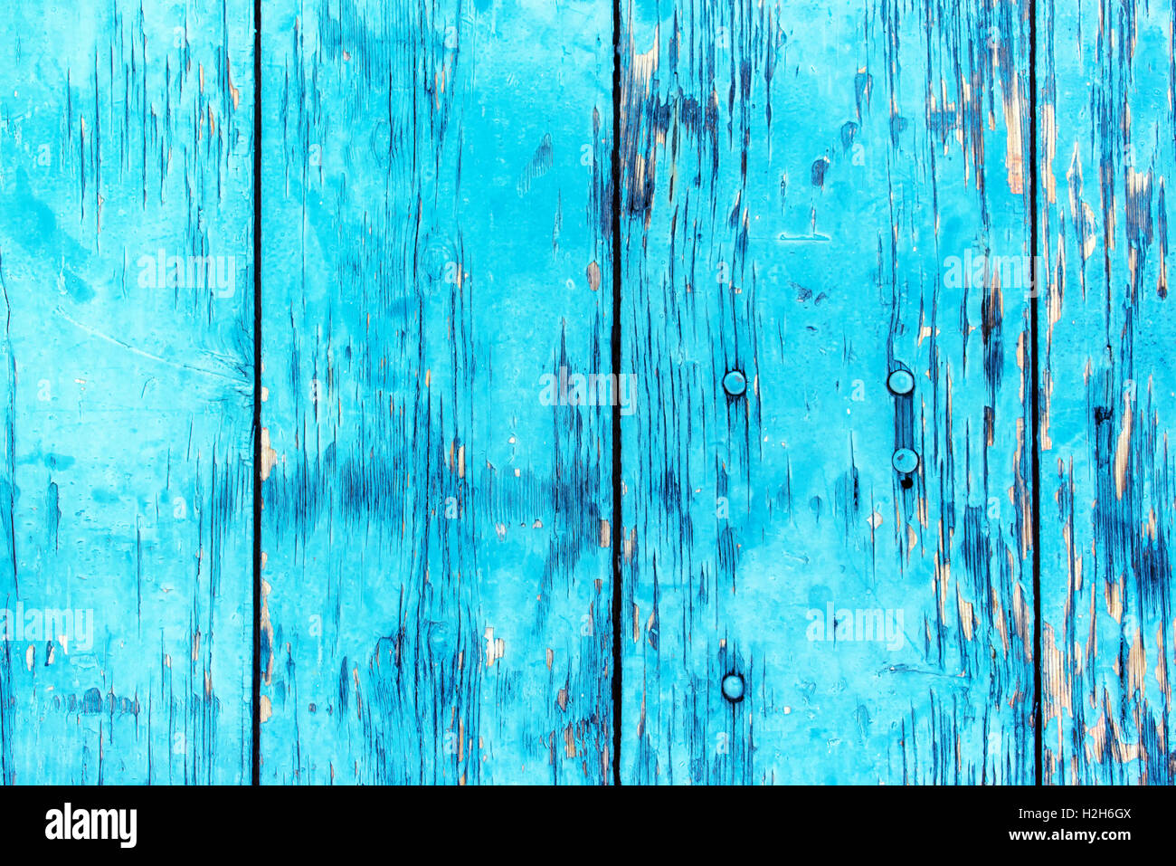 Blue planks background, abstract texture of rustic wooden boards - Stock Image