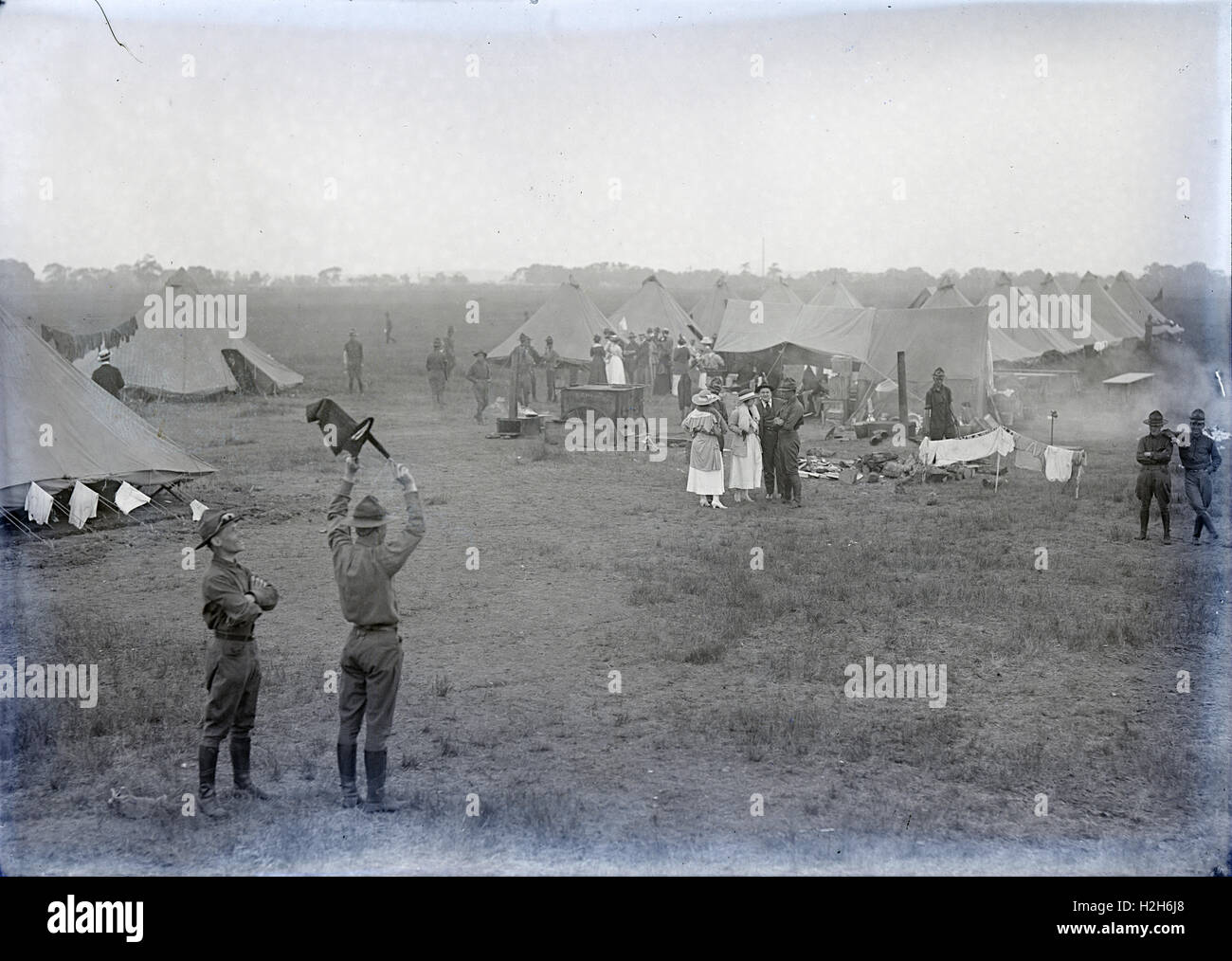 Antique circa 1917 photograph, Army National Guard encampment, location unknown but possibly Massachusetts. SOURCE: - Stock Image