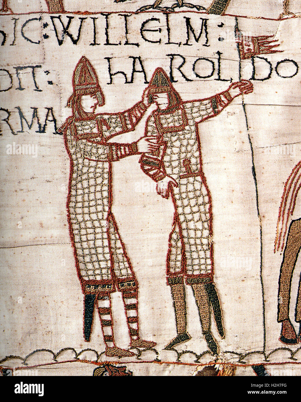 Bayeux Tapestry, William supplying weapons to Harold during Harold's trip to the continent in 1064 - Stock Image