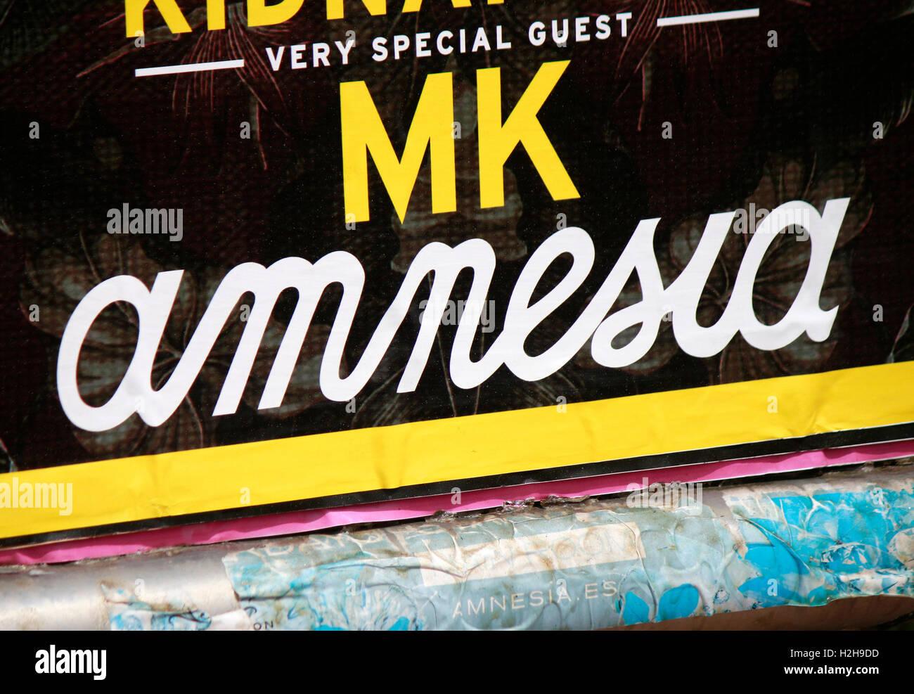 das Logo der Marke 'Amnesia', Ibiza, Spanien. - Stock Image