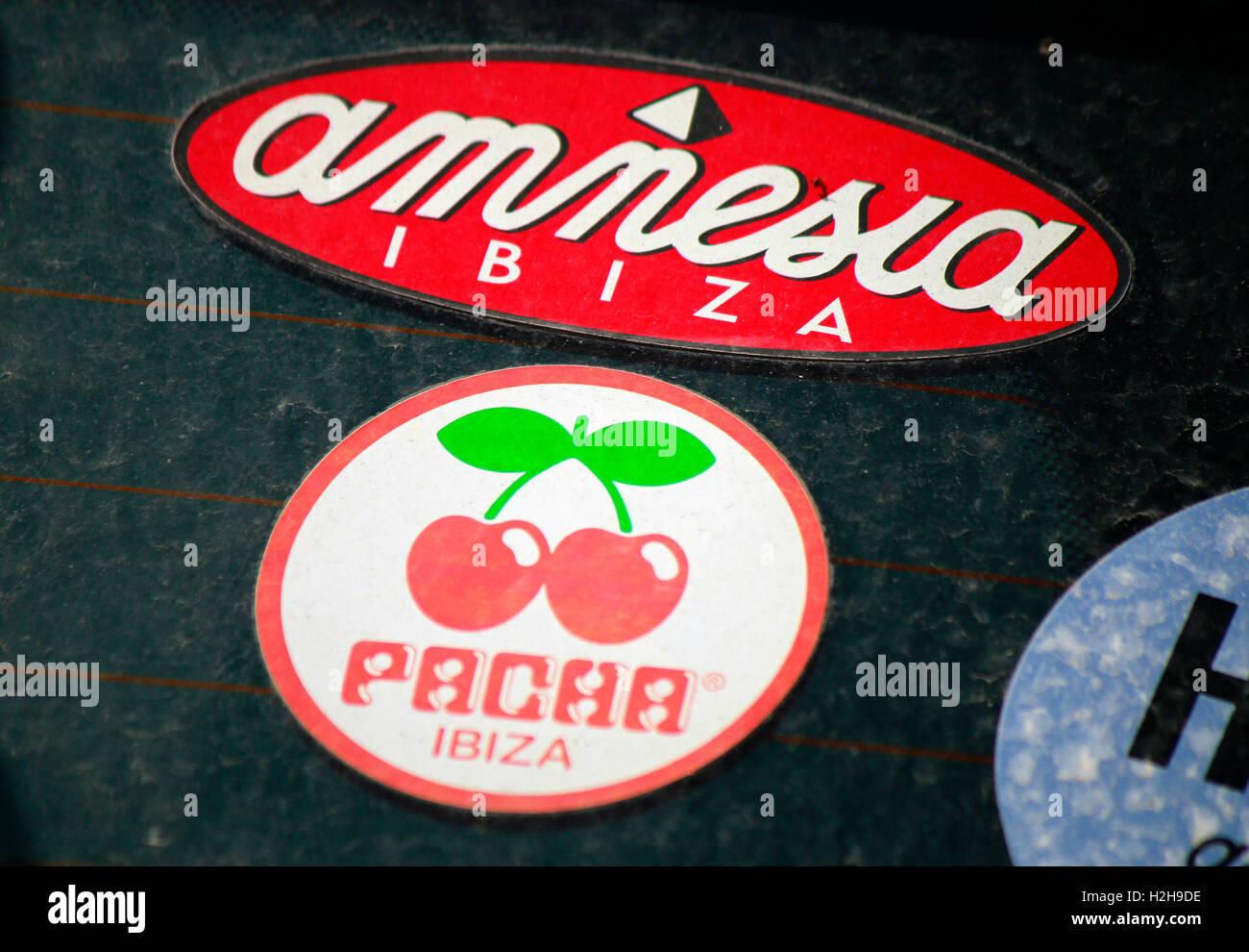 das Logo der Marken 'Amnesia' und 'Pacha', Ibiza, Spanien. - Stock Image