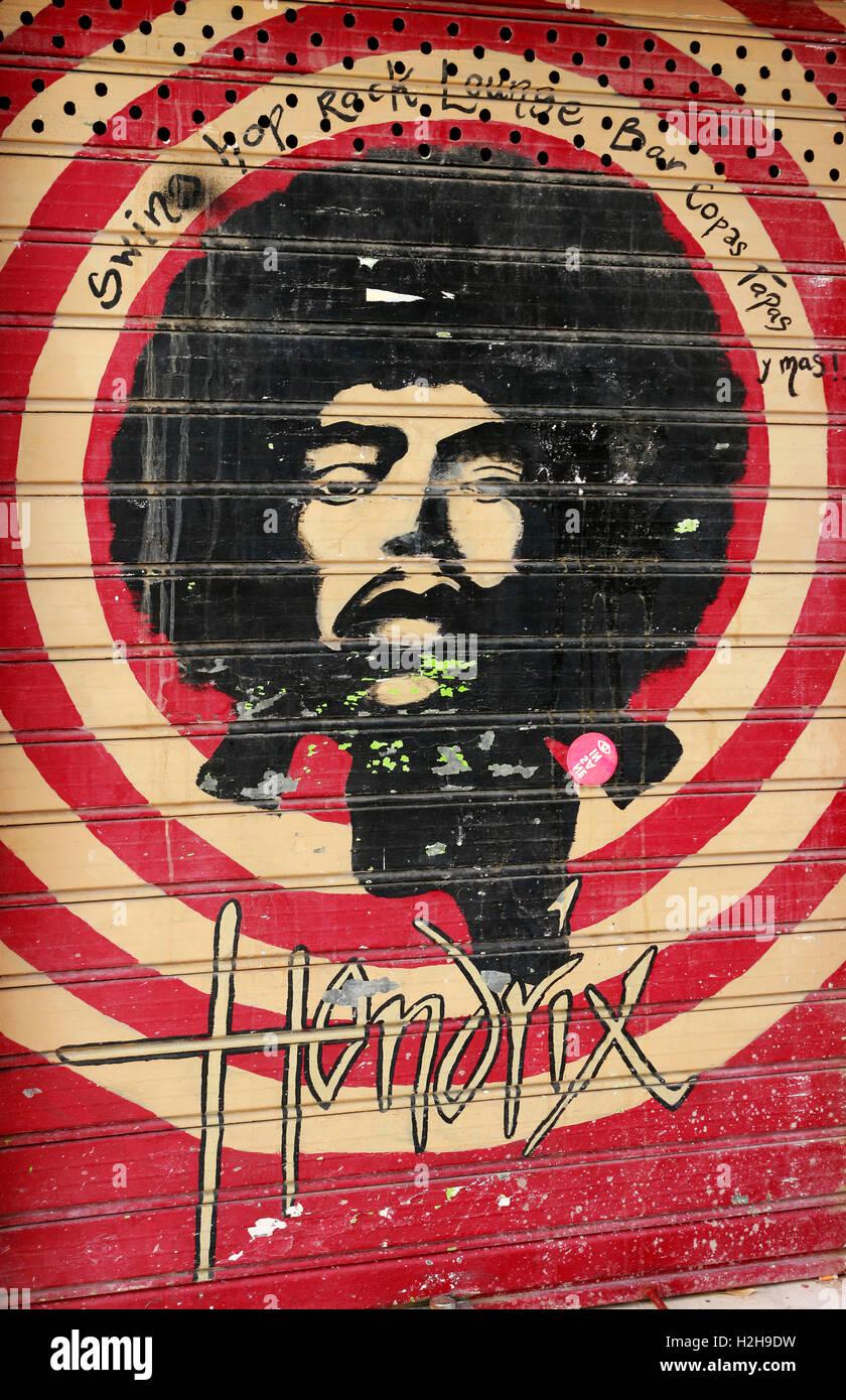Street Art: ein Portrait von Jimi Hendrix, Spanien. Stock Photo