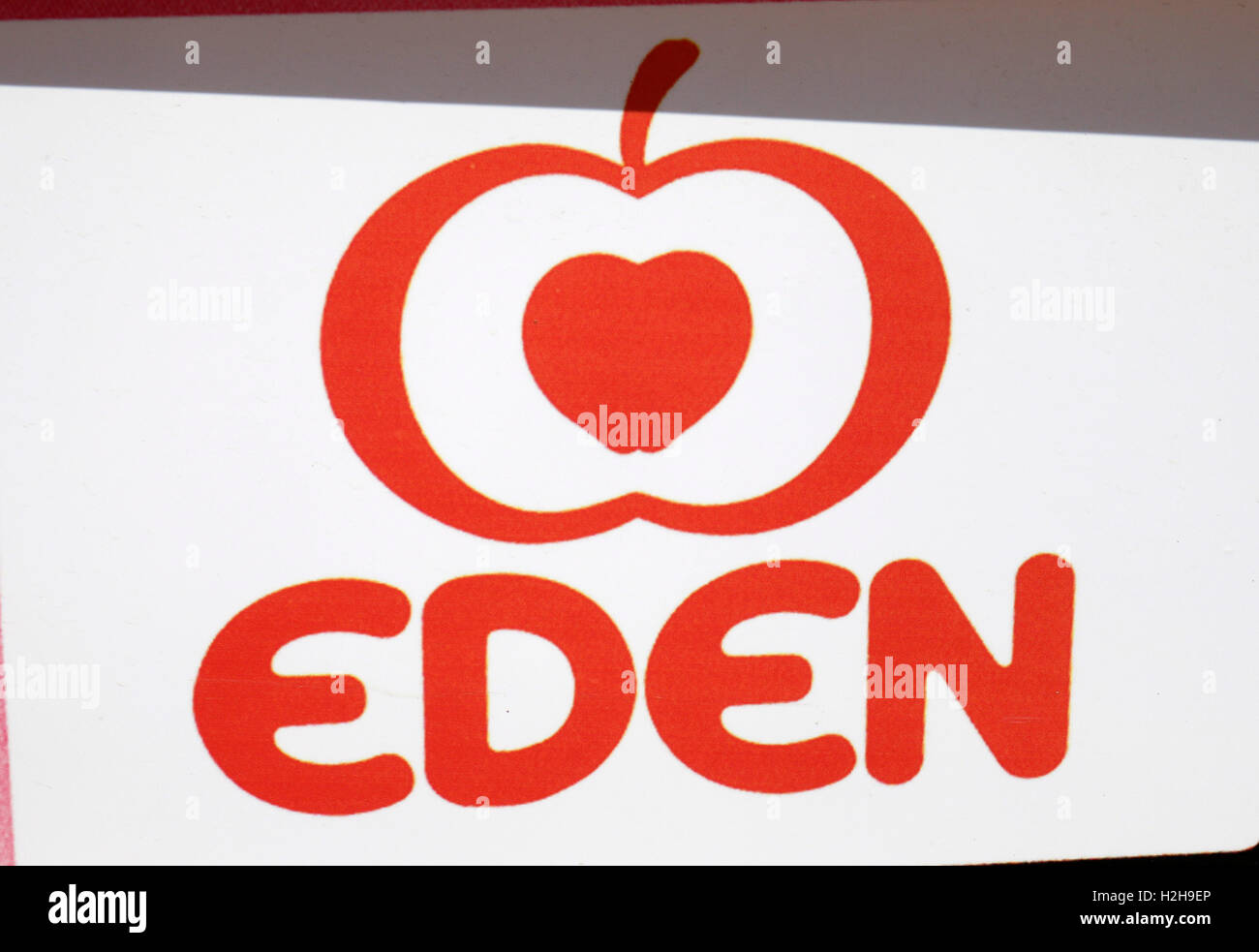 das Logo der Marke 'Eden', Ibiza, Spanien. - Stock Image