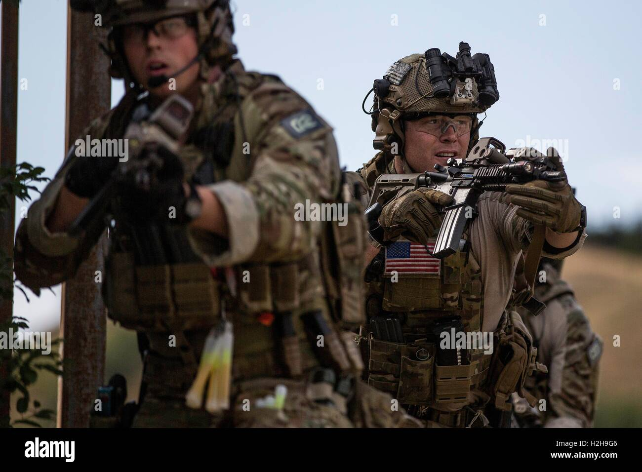 U.S. Delta Force commandos during the Jackal Stone terrorism and crisis management exercise August 15, 2016 in Tblisi, - Stock Image