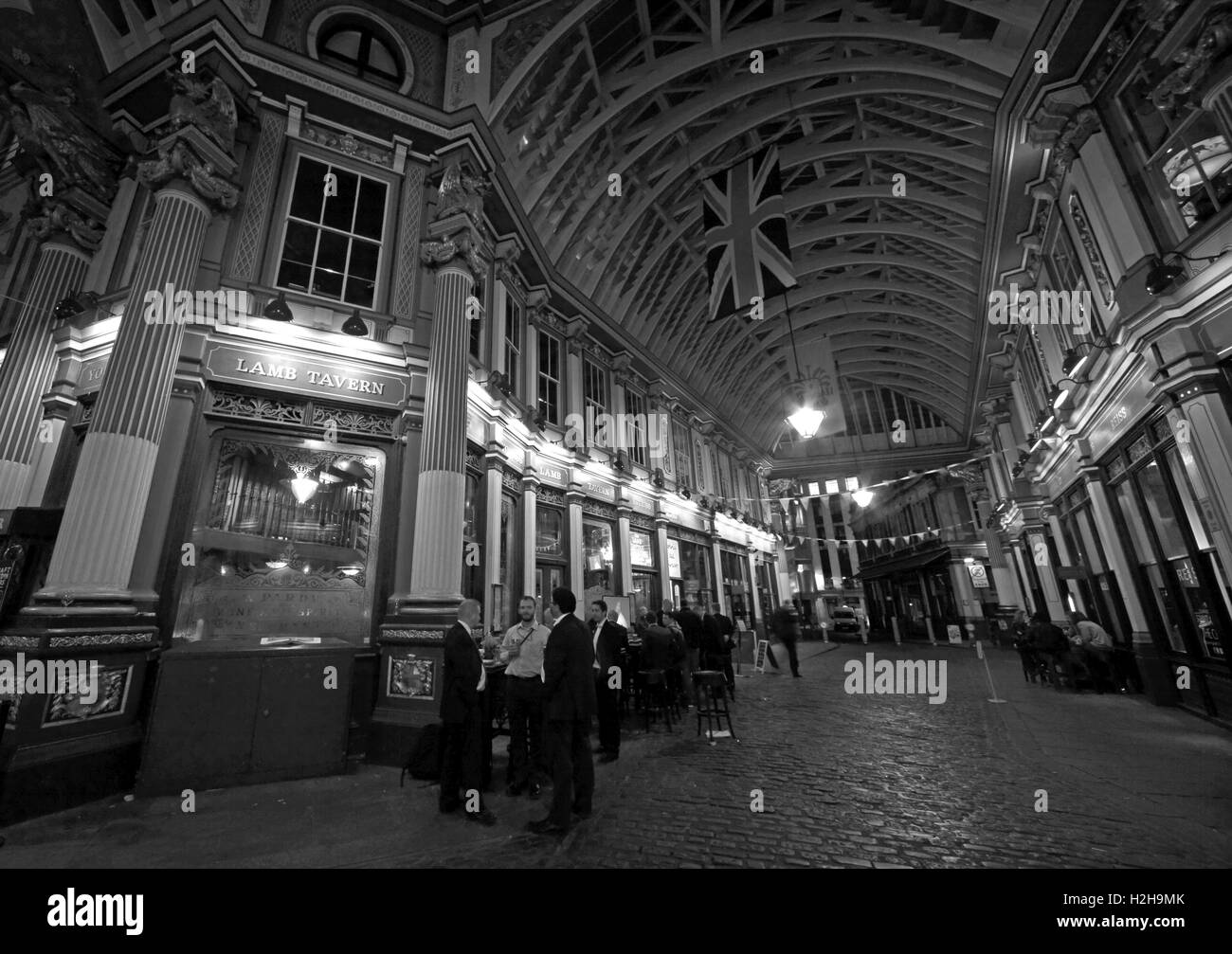 Leadenhall market at night,City Of London,England,UK - Panorama B/W - Stock Image