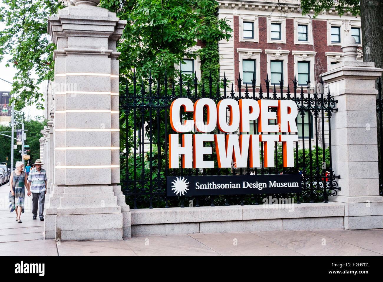 Manhattan New York City NYC NY Upper East Side Cooper Hewitt Design Museum exterior sign - Stock Image