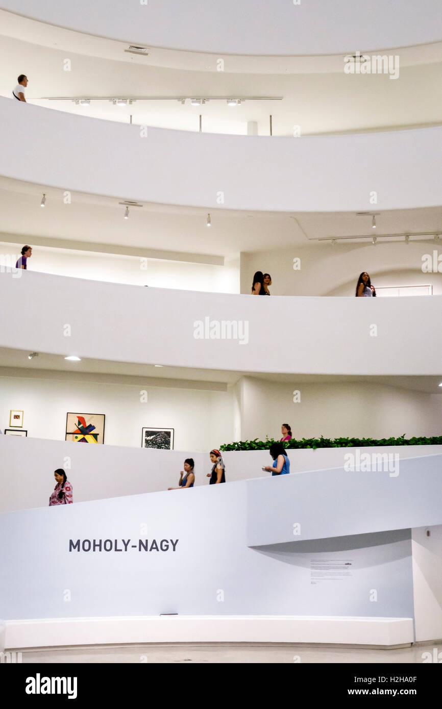 Manhattan New York City NYC NY Upper East Side Guggenheim Museum inside modern art museum Frank Lloyd Wright architecture Stock Photo