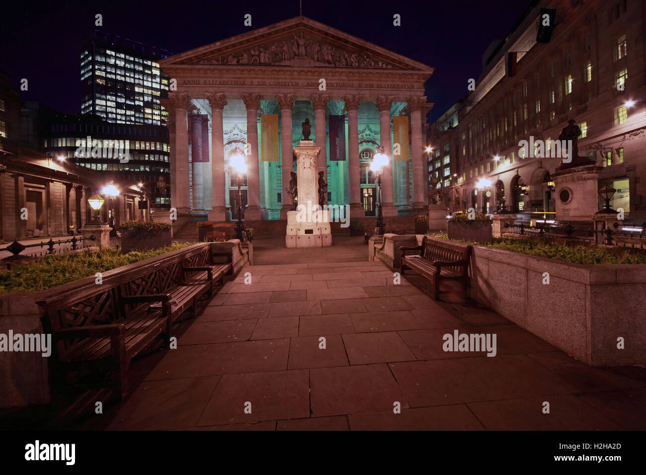 Bank of England at night, City Of London, South East England, UK - Stock Image