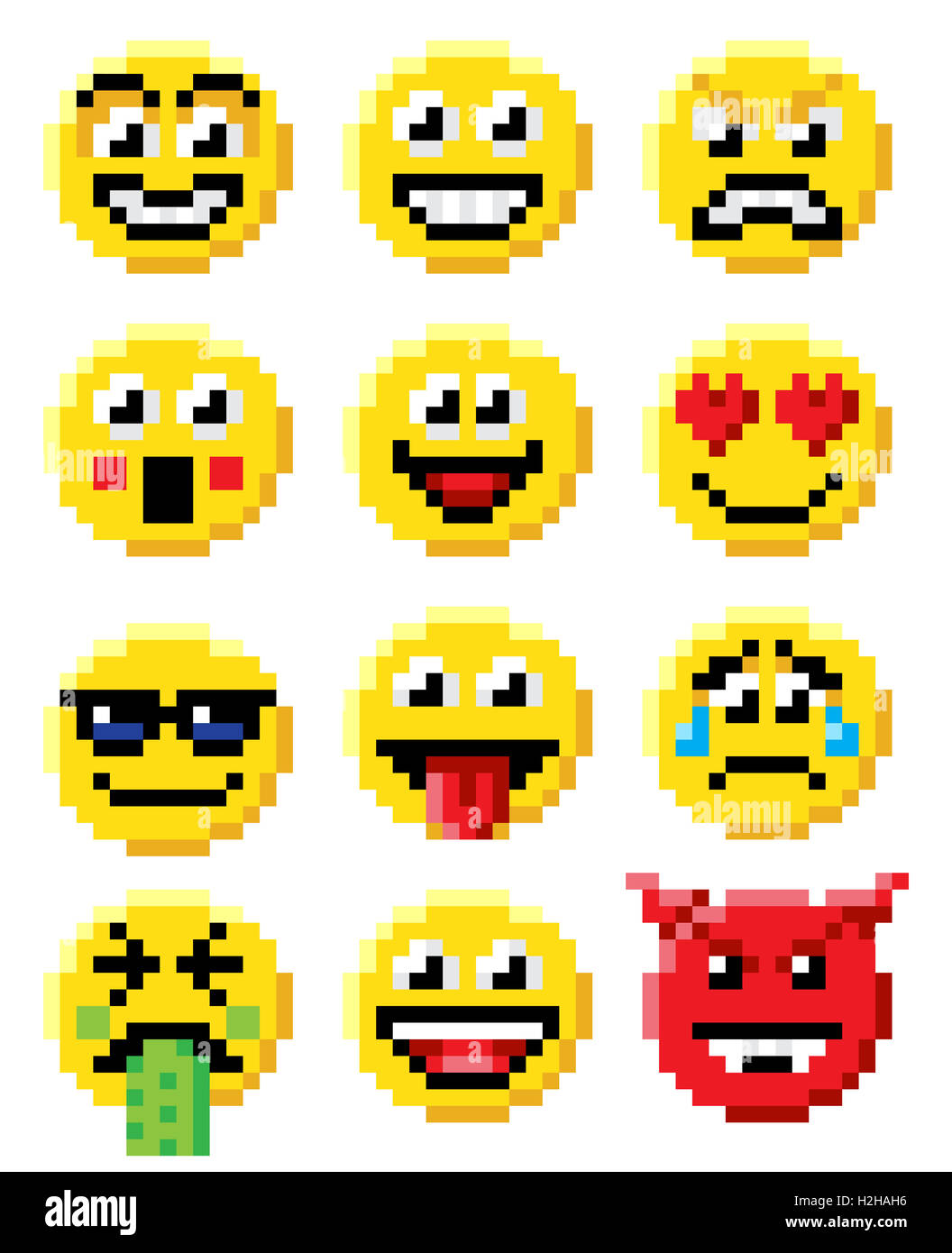 Pixel Art Set Of Emoji Or Emoticon Face Icons In A Retro 8