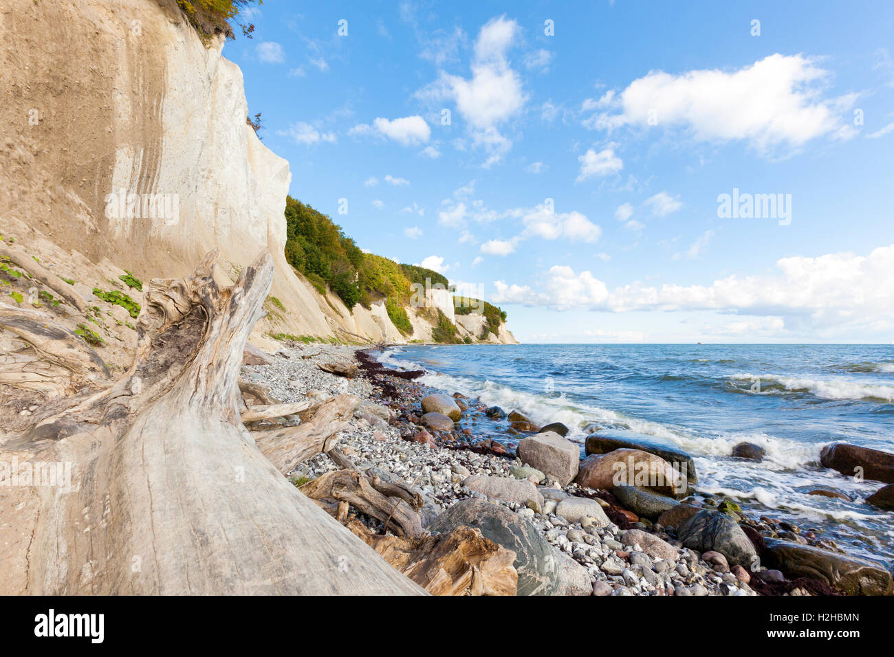 East coast of Ruegen, Germany, with its famous chalk cliffs at Jasmund National Park - Stock Image