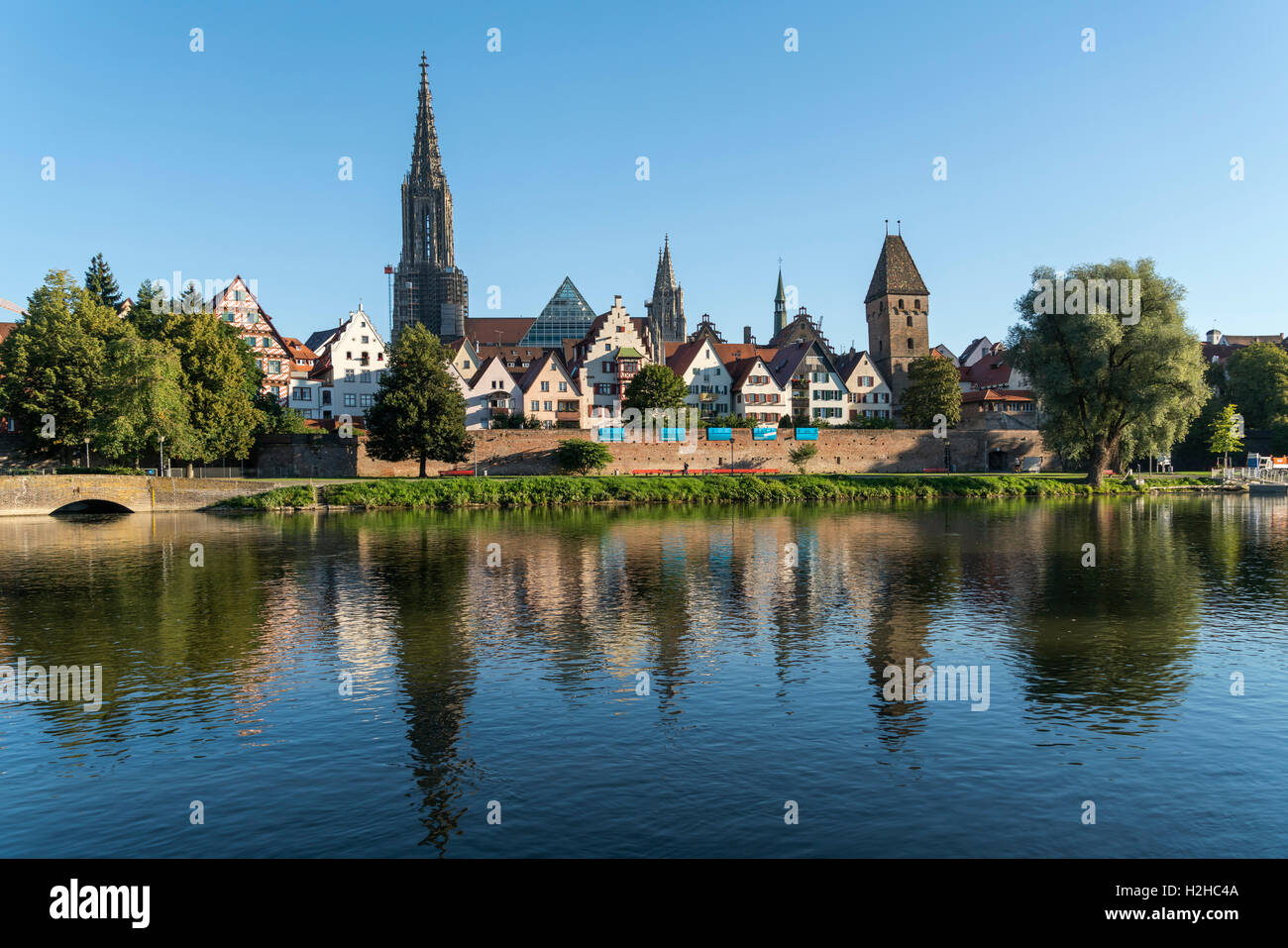 cityscape with danube river and the Ulm Minster, Ulm, Baden-Württemberg, Germany, Europe Stock Photo