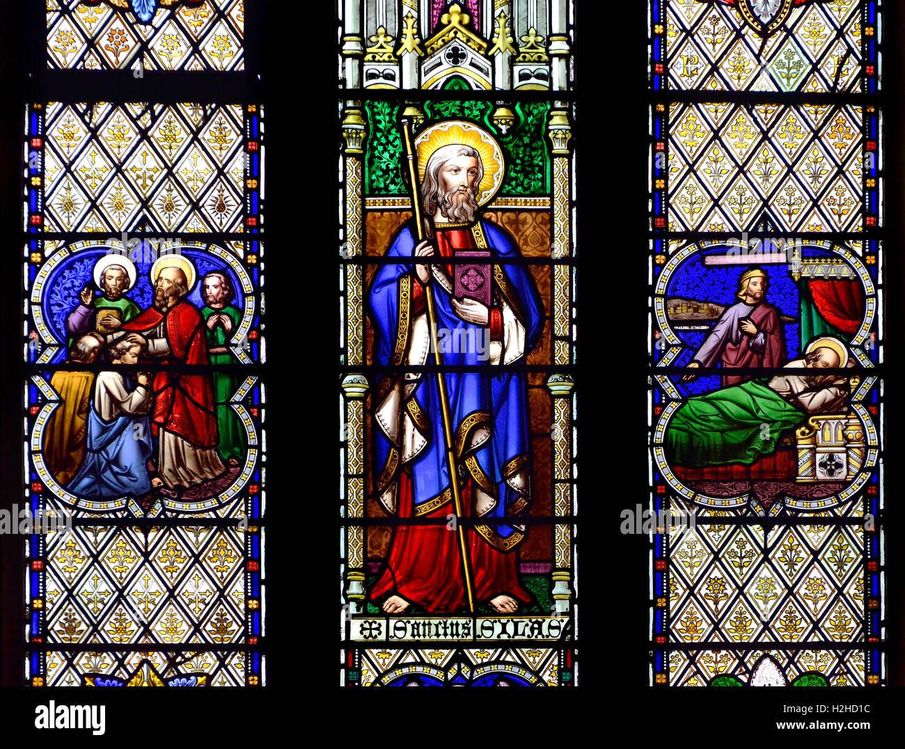 London, England,UK. St Paul's Church, Knightsbridge. Stained glass window - St Silas - Stock Image