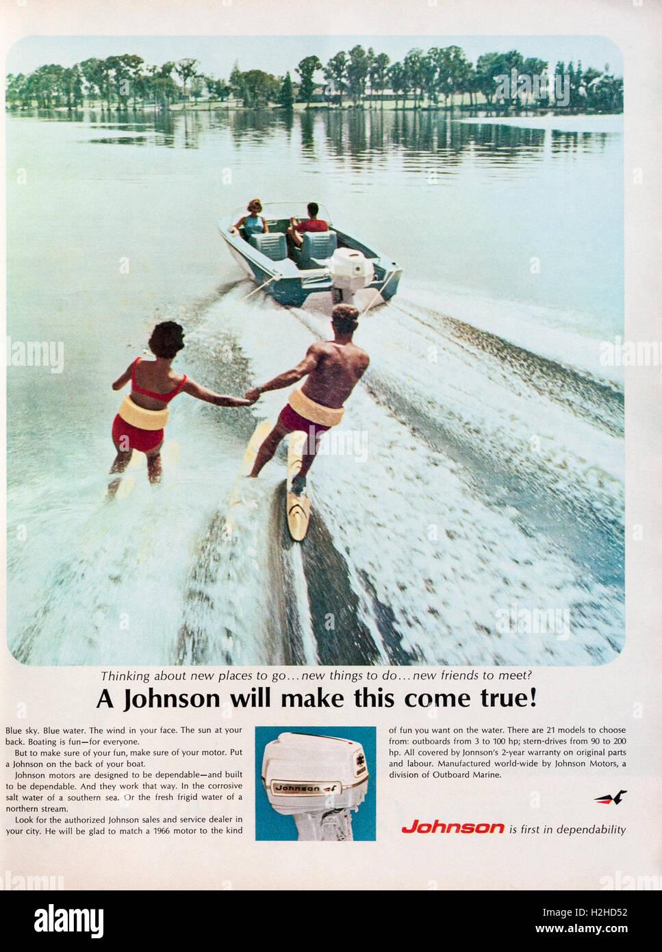 1960s magazine advertisement advertising Johnson outboard motors. - Stock Image