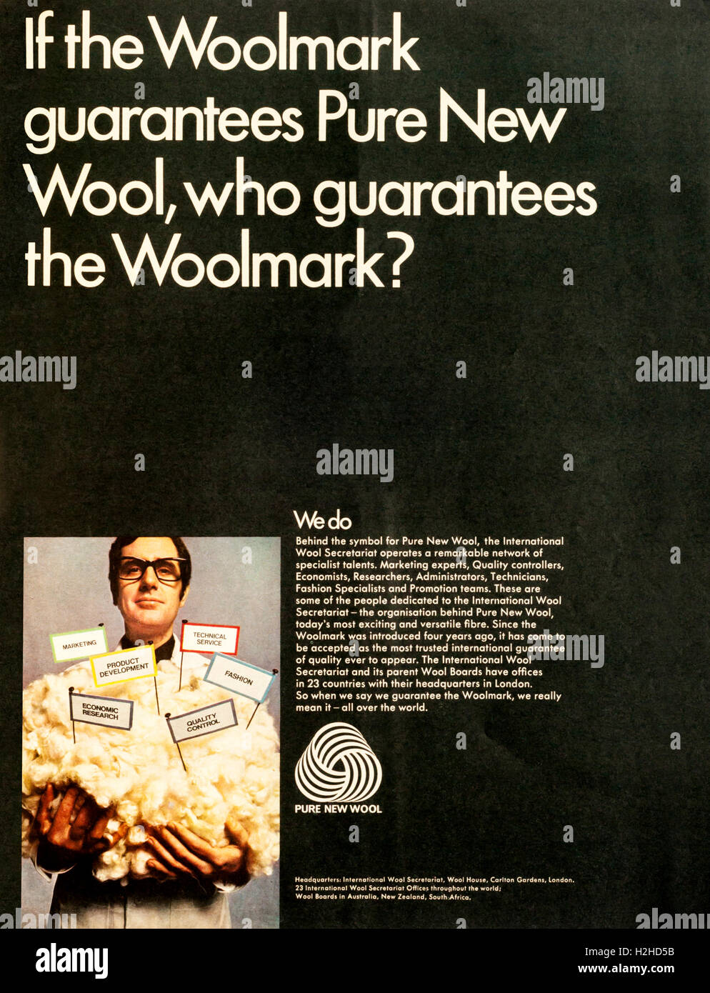 1960s advert advertising pure wool and promoting the Woolmark. - Stock Image