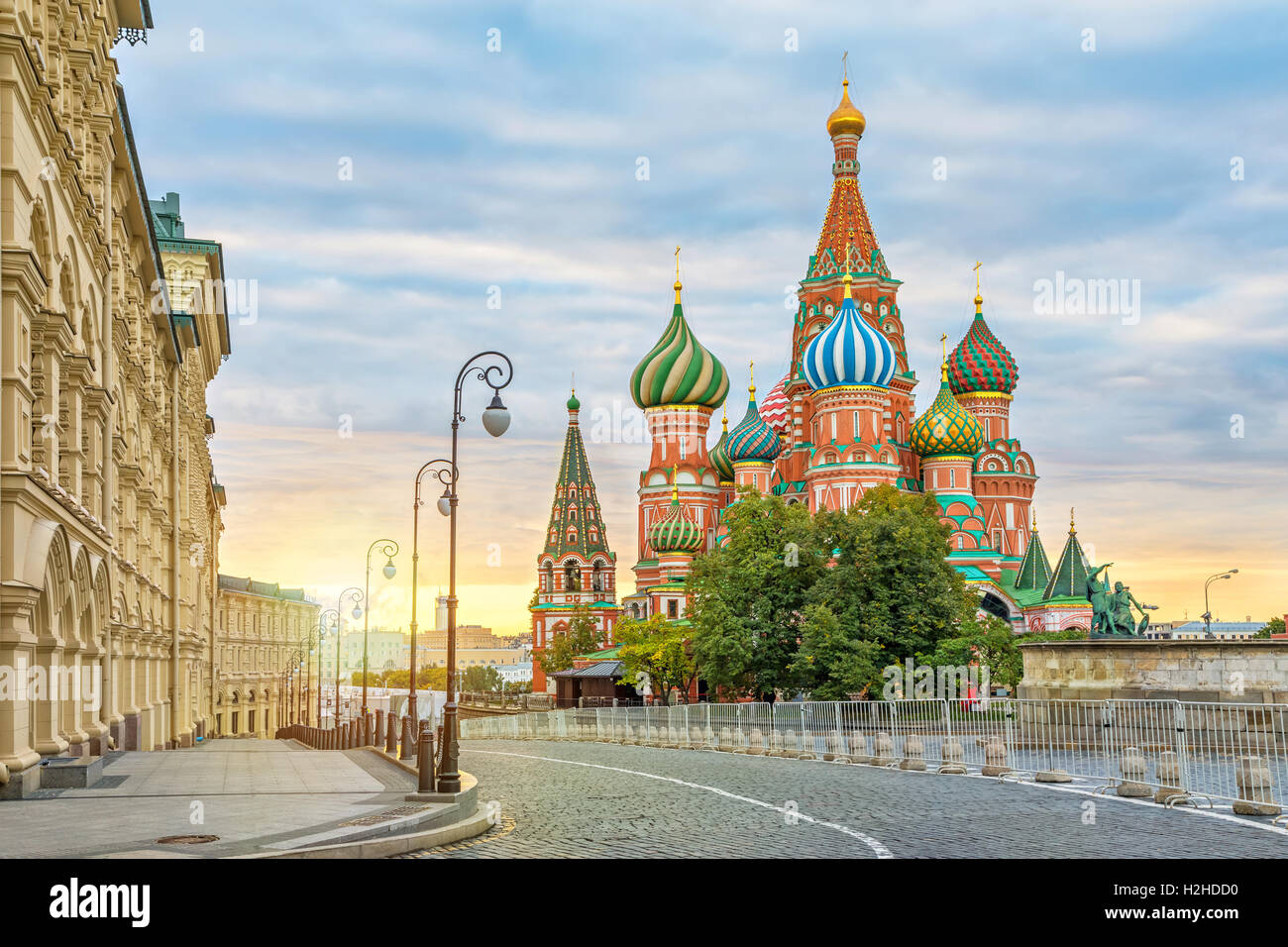Saint Basil Cathedral on sunrise, Moscow, Russia - Stock Image
