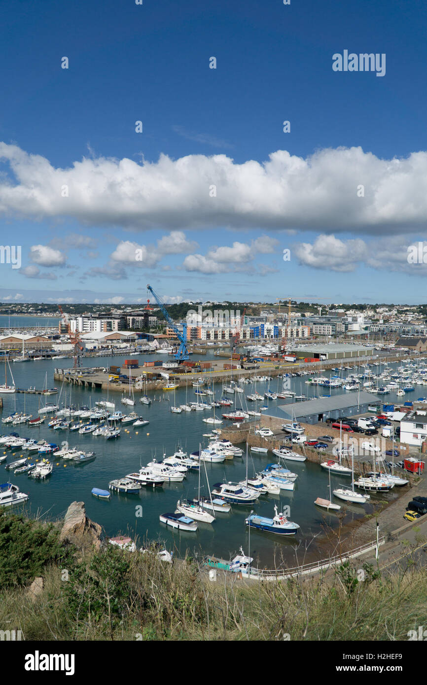 View of the St.Helier harbour area with waterfront developments in the background,Jersey,Channel,Islands. - Stock Image