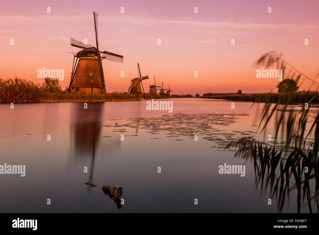 Windmills of Kinderdijk near Rotterdam in Netherlands. Colorful spring scene in the famous Kinderdijk canals with - Stock Image